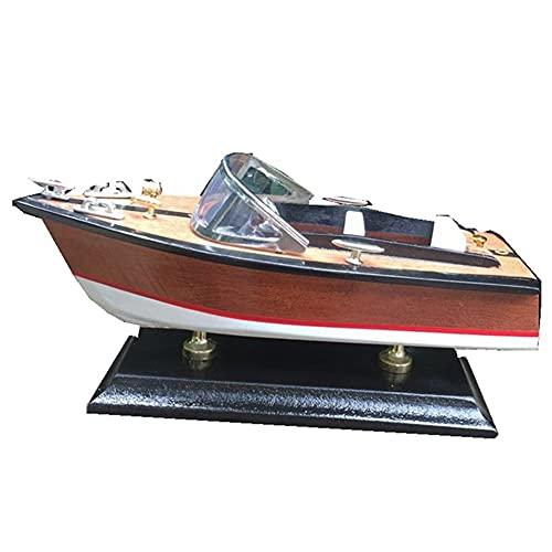 SOFACTY Hölzerne Geschwindigkeit Boot Wasser Yacht Modell Motorboot Schiff Für Kinder Jungen Spielzeug Geschenk 35 * 13 * 13 cm