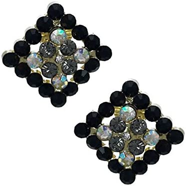Marenda Gold tone Jet AB Crystal Clip On Earrings
