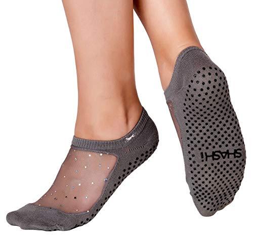SHASHI Star Women's Glitter Grip Socks - Non Slip – Sparkle Mesh Top Panel - Pilates Barre Yoga