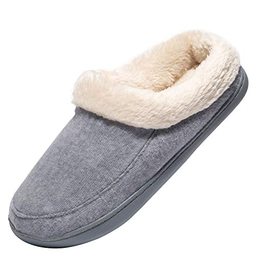 Women's Cozy Memory Foam Slippers Suede Plush Fleece Lined Slip on Indoor Outdoor Clog House Shoes Grey -  Ranberone