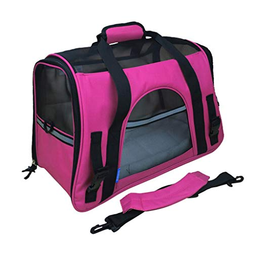 YULAN Portable Pet Box Cage Diagonal Backpack Cat Dog Travel Transport Car Out Of Consignment Multicolor (Color : Rose red)