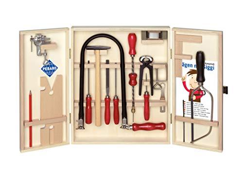 Öko-Laubsägeschrank - ohne Kunststoff für umweltbewusste Bastler, Laubsäge und Werkzeuge aus Stahl, insgesamt 24 Teile platzsparend im Holzschrank