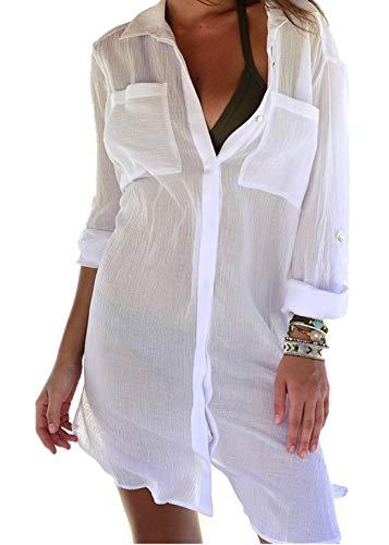PANAX Luftiges Damen Blusenkleid in Weiß - Strandponcho Ideal für den Urlaub, Sommer, Bikini, Badeanzug, Pool, See