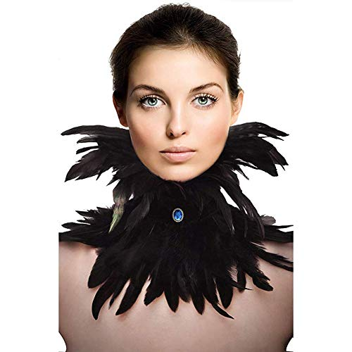 HOMELEX Gothic Victorian Black Natural Feather Collar Choker Halloween Shawl Cape