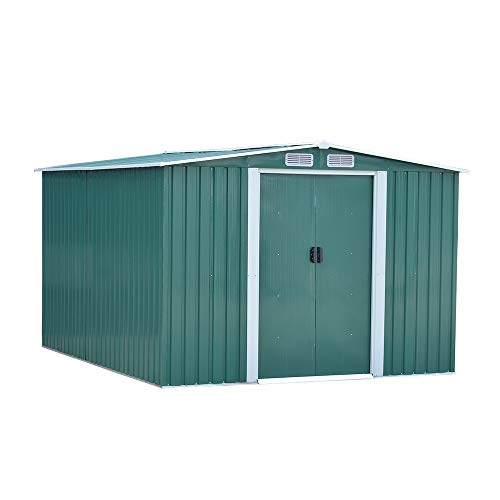 elevenfurniture 10 x 8ft Tool Storage House Metal Garden Apex Roof Storage Shed Door at 8FT side(Green)