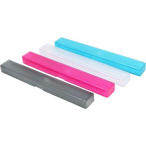 COM-FOUR® 4x tandenborstelhouder, transport- en opbergdoos voor handtandenborstels in roze, blauw, transparant, zwart, 20 cm (20 cm - 04 stuks kleurenmix)