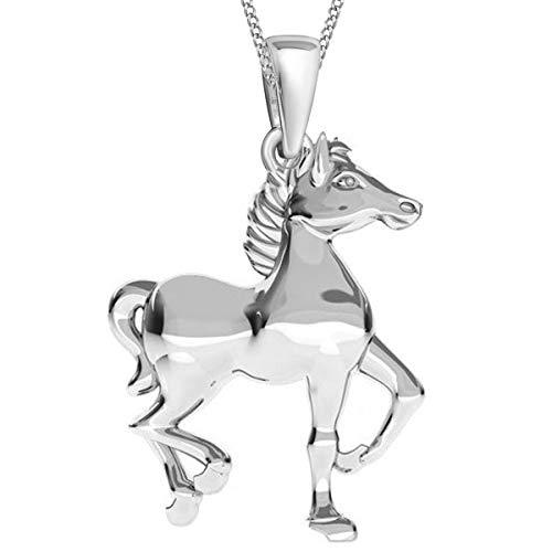 GH* KIDS Pferd ANHÄNGER + KETTE 38-50cm 925 Echt Silber Mädchen Kinder Pferde Set (38)