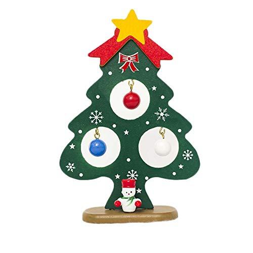 Luopei Decoraciones de Navidad Árbol de Navidad Adornos Wodeen Árbol de Navidad Hotel Holiday Toy Casa Hecho a Mano Mini Creativo 14cm Madera para Navidad