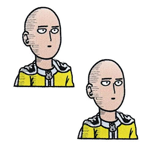 OYSTERBOY 2pcs One-Punch Man Anime Characters Saitama Embroidered Iron on/Sew on Decorative Applique Patch