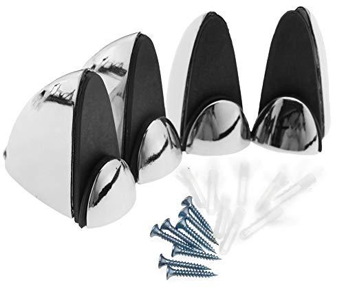 Enet - Dos pares de abrazaderas de cristal para estante (5-10 mm, aleación de zinc, cromo pulido