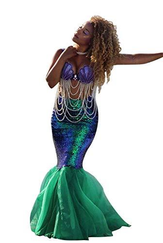 Loalirando Disfraz de sirena para mujer, disfraz de sirena para Halloween, disfraz de escena con lentejuelas, maxi falda Cosplay, carnaval, vestido de noche (verde, M)