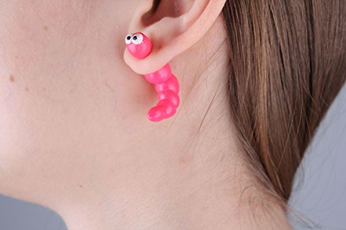 MadeHeart   Buy handmade goods Homemade Fake Ear Plugs Pink Caterpillar Cute Funny Earrings for Girls Jewelry Ideas