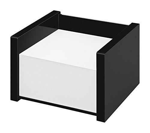 Wedo 637001 Zettelbox Black Office, aus Acrylglas, inklusive 500 Blatt Notizpapier, Gummifüße 10, 9 x 10 x 7, 5 cm, im Geschenkkarton, Schwarz