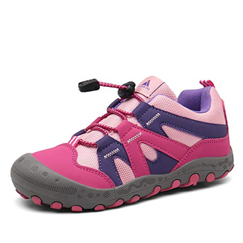 Mishansha Kid's Girl's Outdoor Hiking Running Sneakers Slip on Breathable Walking Casual Trekking Shoes Pink 2