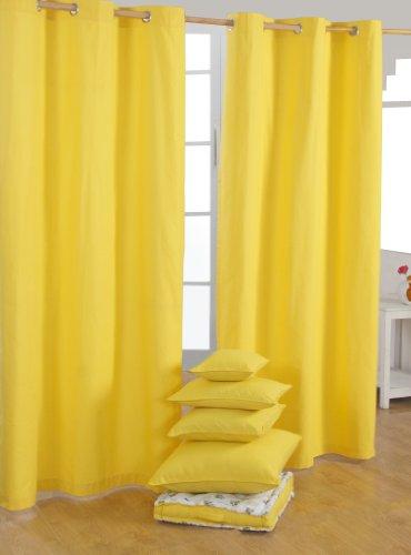 HOMESCAPES Par de Cortinas Opacas Decorativas, 100% algodón con Ojales en Color Amarillo 137 x 182 cm