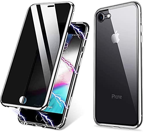 Funda iPhone 8/iPhone SE 2020/iPhone 7 Anti-Espía,360 Grados Proteccion Case en Cristal Templado Privacidad,Magnética Metal Bumper Carcasa para iPhone 8/7/SE 2020,Plata
