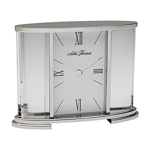 Seth Thomas TSI006060 Table Clock Silver W/Roman Numerals & Glass Carriage Home & Garden Improvement by Seth Thomas