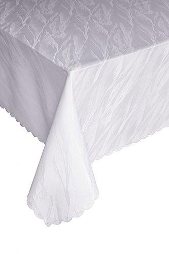 Ilkadim Damast Tischdecke 130x220 cm Weiß aus 100% Polyester Bügelfrei und Flecken abweisend (Größen auswählbar)