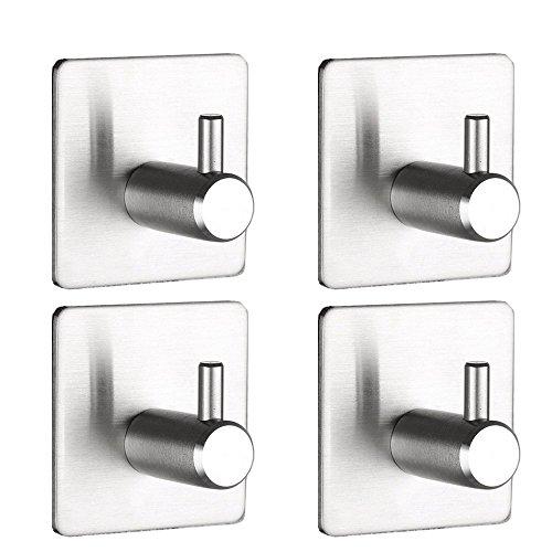 U-BCOO® - Ganchos adhesivos 3mm ganchos de pared de alta resistencia, acero inoxidable, percha impermeable para cocina, baño, bolsas, toallas, llaves, ropa, oficinas en casa, sin necesidad de taladrar