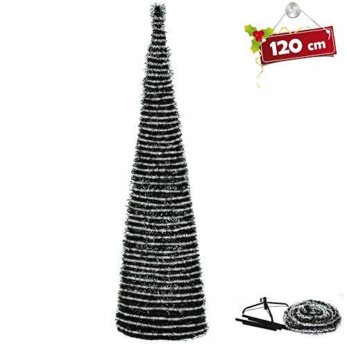 BAKAJI Albero di Natale Slim Richiudibile Pop-UP 120 cm Innevato con Base a Croce in Metallo Decorazioni Natalizie