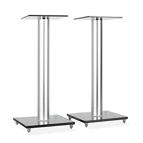 BS58 - Stativi, Coppia Stander, Supporti in Vetro ed Alluminio, Design in Stile Bauhaus, Effetto Isolante, Carico Massimo 10 Kg