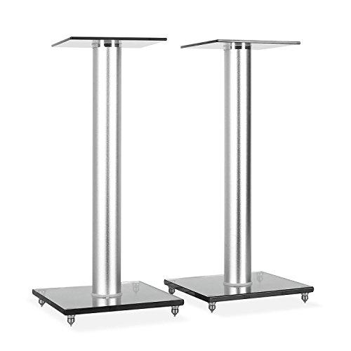 electronic star BS58 - Paire de Supports pour Enceintes, Supports de 58 cm, Faible Transmission des Vibrations, Charge maximale supportée : 10 kg, Style Bauhaus, Aluminium/Verre