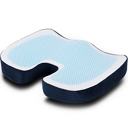 Pootack Seat Cushion,Gel Coccyx Cushion - Office Chair Cushion For Sciatica Coccyx Tailbone Pain Relief, Memory Foam Seat Cushion For Office Chair Car Seat Wheelchair