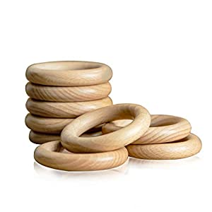 &#9733[PACKAGE INCLUDED] - 10Pcs durable unfinished wood rings, size is 40 mm-80mm (1.57inches - 3.15inches) in diameter, different sizes have different usage, good for you make various arts. &#9733[MADE OF WOOD] - These round wooden rings made of na...