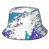 Cappello alla Moda per Donna e Uomo Cappello Pieghevole Pescatore Protezione Solare/Antipioggia Stampa Texture usurata Splatter Vernice Superficiale Nera