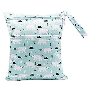 おむつポーチ おむつバッグ 防水バッグ オムツ収納 軽量 お出かけ 赤ちゃん用品 (白熊)