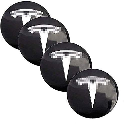 XKMY Centrales Tapacubos, para TES la Model S X 3 Centro Cubo Tapas De Rueda Prueba De Polvo Plastico O AleacióN Pegatinas Logotipo Accesorios De Coche Decorativas Ruedas Trim 4Pcs 56mm