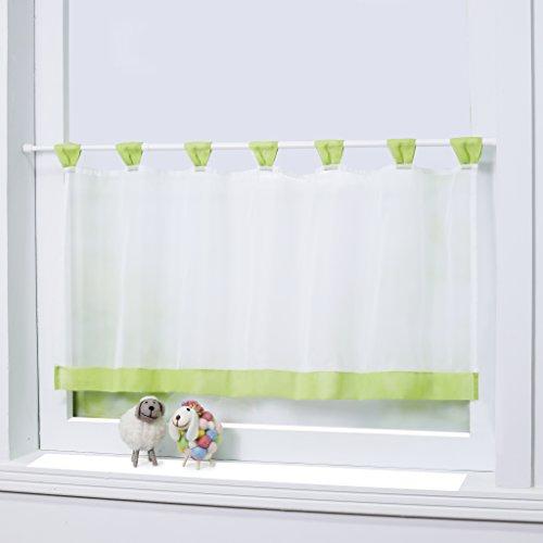 Joyswahl Bistrogardine Voile Schlaufen Scheibengardine Mia Küchen Transparenter Vorhang HxB 45x90cm Grün 1er Pack