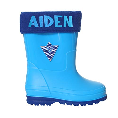 Varsany Boys Personalised Name Wellington Boots Kids Rain Boots Childrens Waterproof Shoes Infant Wellies Non Slip Toddler Young (7 UK Child, Blue, 7)