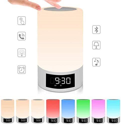 FANLIU Wecker Digital Radio Controlled Wake Up-Licht, LED-Touch-Sensor-Licht, Bluetooth Lautsprecher Uhr, 7 Farben USB-Stimmungs-Licht Dimmbare Nachttischlampe (Color : White)