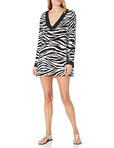 La Blanca Women's V-Neck Tunic Cover Up Dress, Black/Cream//Abstract Zebra, X-Large