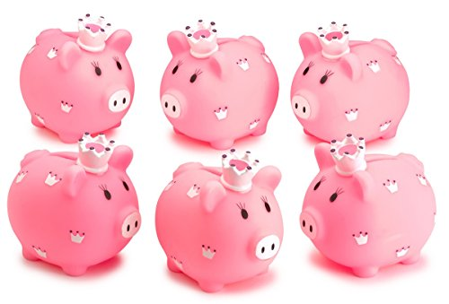 Kicko Piggy Bank - 6 Pack 3.5 Inch, Little Princess Pink Coin Bank, for Kids Money Collections and Savings - Makes a Perfect Unique, Nursery Decor, Keepsake