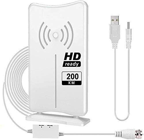 DVB-T1/T2 HD Antenne,Digitale Zimmerantenne,Indoor-TV-Antenne 200KM Reichweite Smart Verstärke Signalverstärker,Geeignet für 1080P 4K für Signalverstärker Kostenlose TV-Kanäle USB Strom Innenantenne