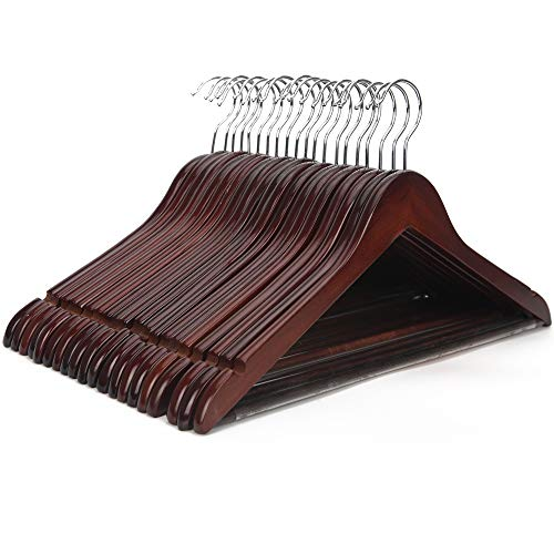 JS HANGER Wooden Coat Hangers, 20 Pack High Grade 17.5 Inch Wood Suit Hangers With Non Slip Pant Bar - Extra Smooth and Splinter Free Walnut Finish