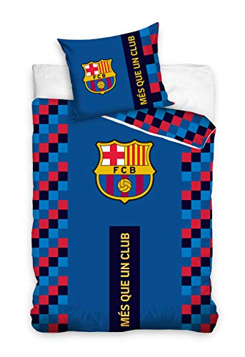 DHestia - F.C. Barcelona Juego Funda Nórdica y Funda Cojín 100% Algodón Barça FCB192001