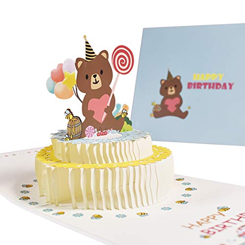 Happy Birthday Card, 3D Pop Up Bear Cake Greeting Cards Watercolor Handmade Folded Birthday Gift Card with Blank Hide Note Card for Birthday Party Baby Shower for Girls Boys Kids, 6x6'