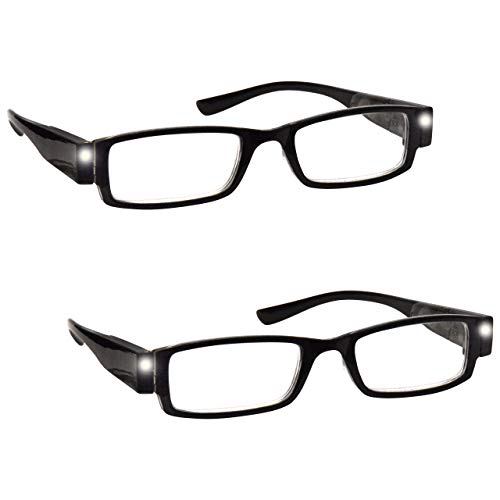 The Reading Glasses Company Gafas De Lectura Pack 2 Iluminado Led Noche Lectores De Luz Hombres Mujeres Negro Ll1-1 +1,00 2 Unidades 70 g
