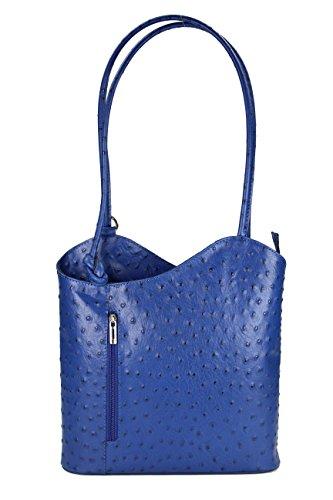 Belli ital. Ledertasche Backpack 2in1 Rucksack Handtasche Schultertasche - Freie Farbwahl - 28x28x8 cm (B x H x T) (Royalblau strauss)