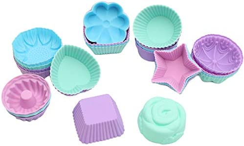 To encounter 36 Pack Silicone Cupcake Baking Cups Non Stick Muffin Liners 9 Shapes Reusable product image
