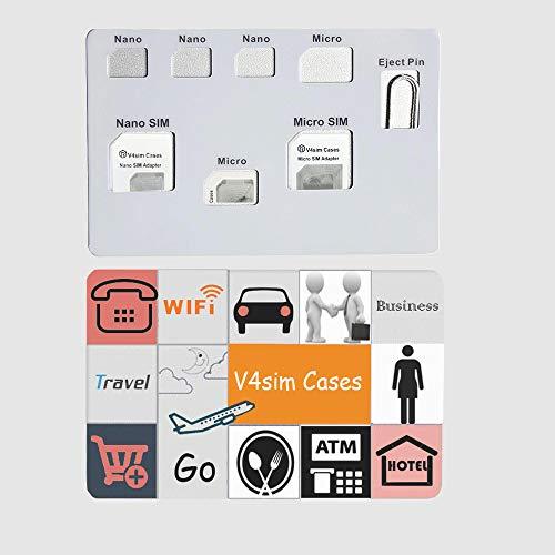 SIMカードアダプターセット&ナノSIMカードホルダーケース、phoneピン針付、SIMカード7枚収納ケース、ナノSIMカード用品質シムコンバーターセット-ブラック(V4simA)