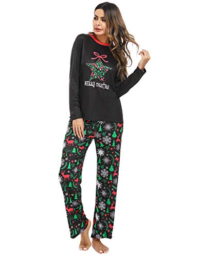 Womens Long Sleeve Christmas Pajamas Set, Irevial Round Neck 2 Piece Sleepwear Pjs Graphic Tees Sweatpants with Pocket Slim Fit Holiday Loungewear Black M