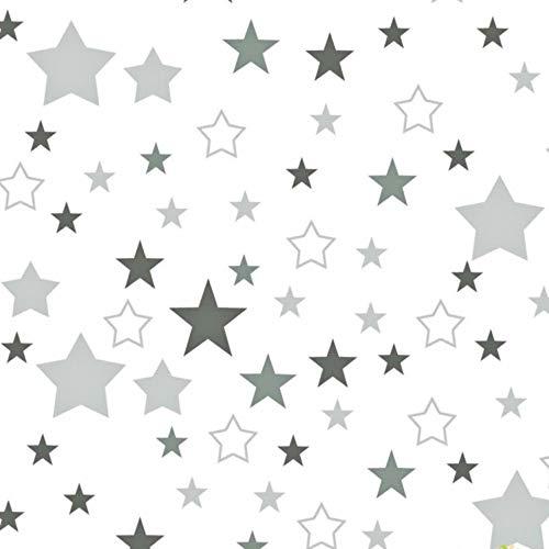 Pingianer - Tela de algodón para niños, 100 % algodón, por metros, artesanía, tela de costura, diseño de estrellas, Blanco, gris, gris oscuro., 100x160cm (11,99€/m)