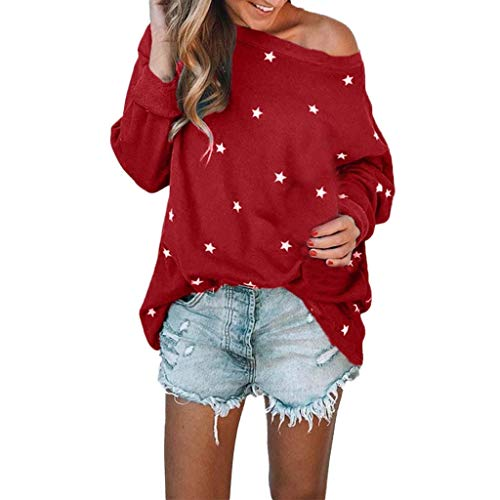 HULKY Liquidazione Donna Elegante off Spalla Manica Lunga Star Stampa Morbida Sciolto Cime Pullover Boho(Rosso,x-Large)