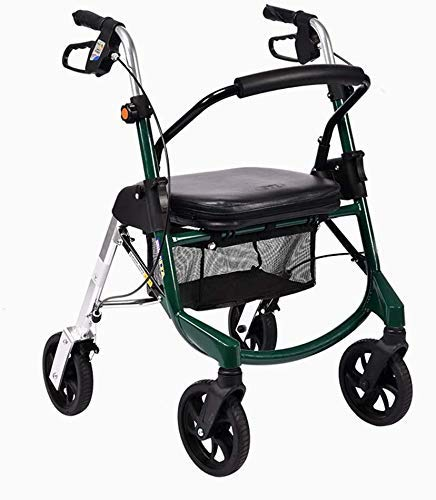 Z-SEAT Rollator Walker, Medical Wheel Walking Aid Height Adjustable, Upright Posture Rolling Walker, Mobility Portable Rollator Walker with 4 Wheel for Seniors