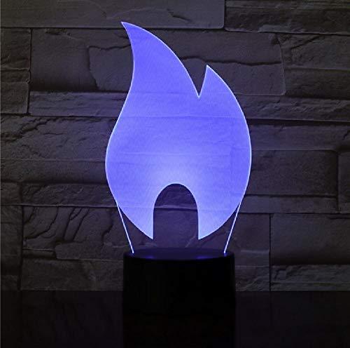 3D abstracto fuego llama diseño LED noche lámpara acrílico placa LED Touch base