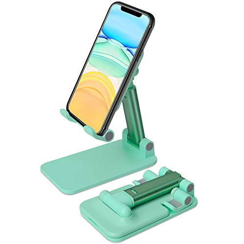 mylovetime Handy Halterung, Faltbarer Handy Ständer Verstellbarer Halter für Handy Schreibtisch Tablet Halter Multi-Winkel Grün